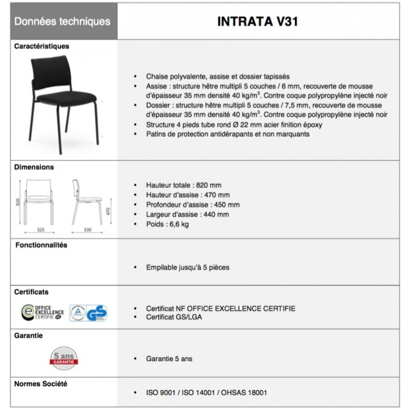 Chaise V31 Collectivites Reunion Accueil Intrata tdsChQr